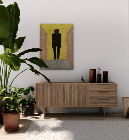 Large birds of paradise next to a cabinet and a painting