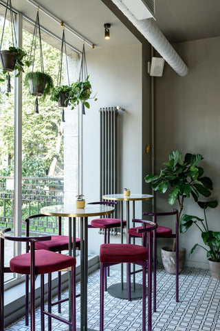 Plants in a white restaurant with high top tables and maroon stools