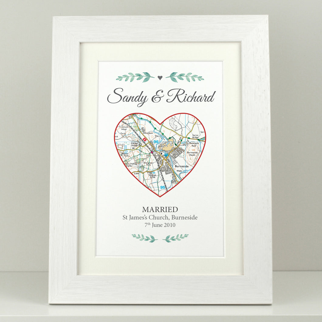 Personalised Special Place Heart Map