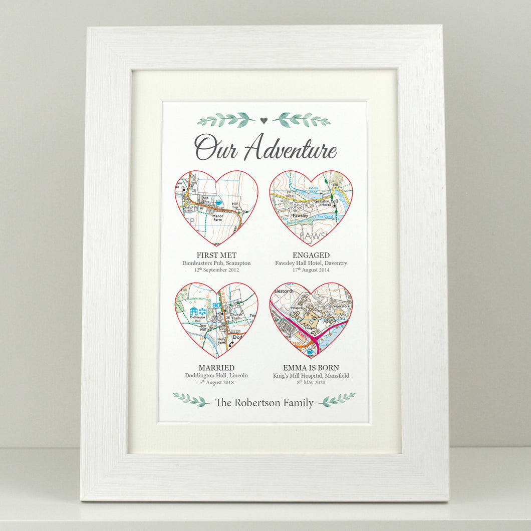 Personalised Our Adventure - 4 Heart Maps