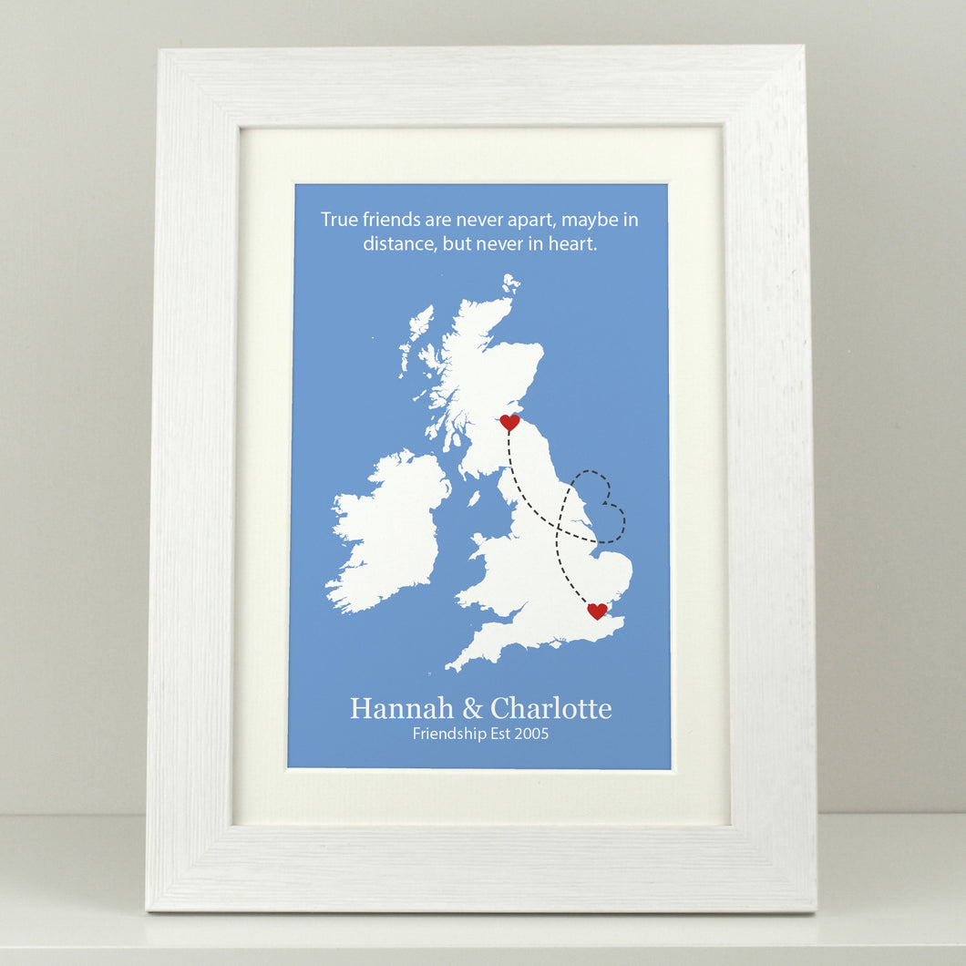 Personalised Friends Apart UK Print