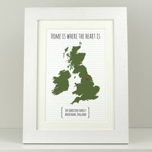 Load image into Gallery viewer, Personalised Home is where the heart is UK Map