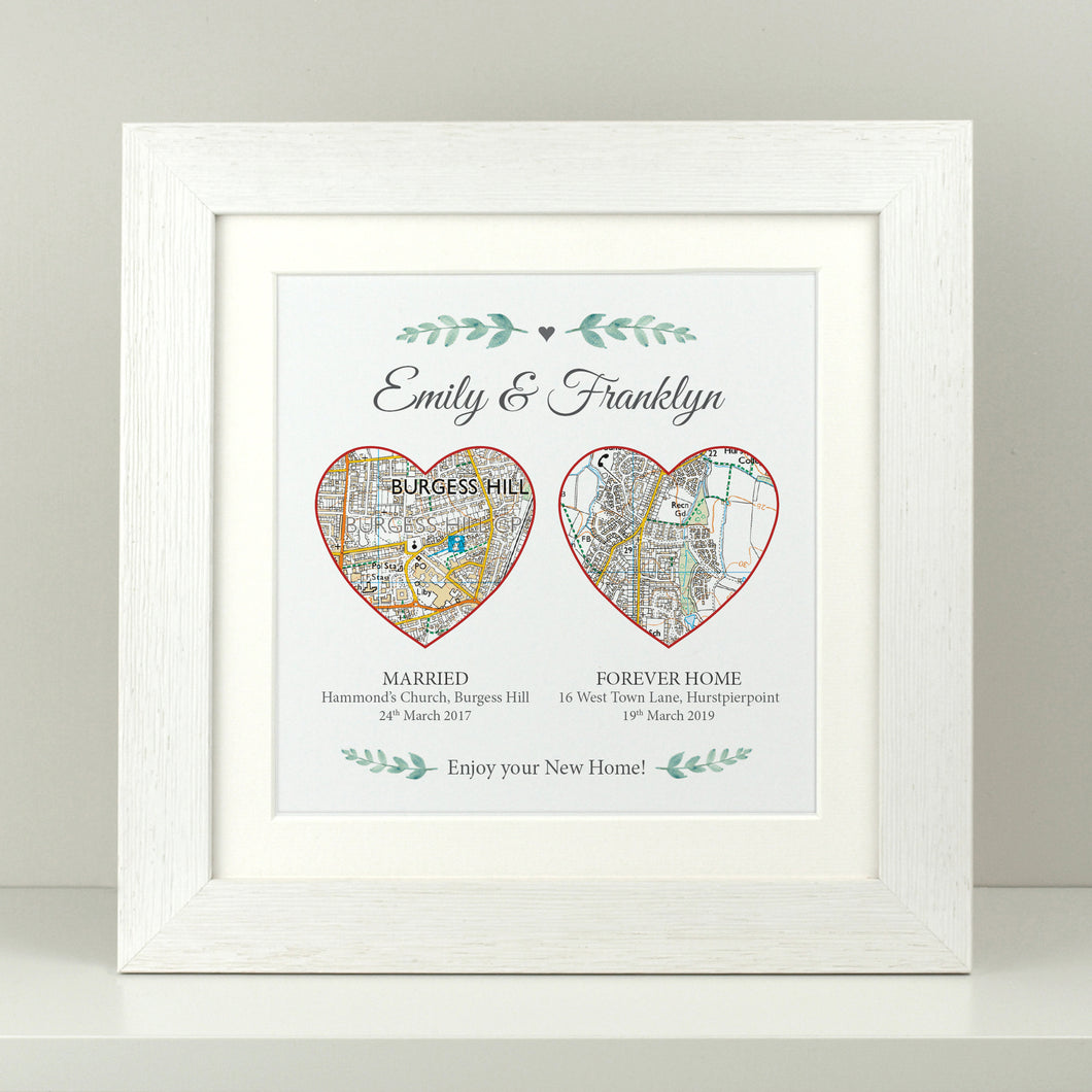 Personalised Our Adventure - 2 heart maps square