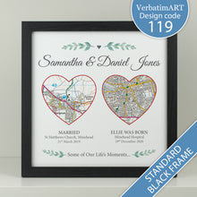Load image into Gallery viewer, Personalised Our Adventure - 2 heart maps square