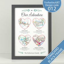 Load image into Gallery viewer, Personalised Our Adventure - 4 Heart Maps