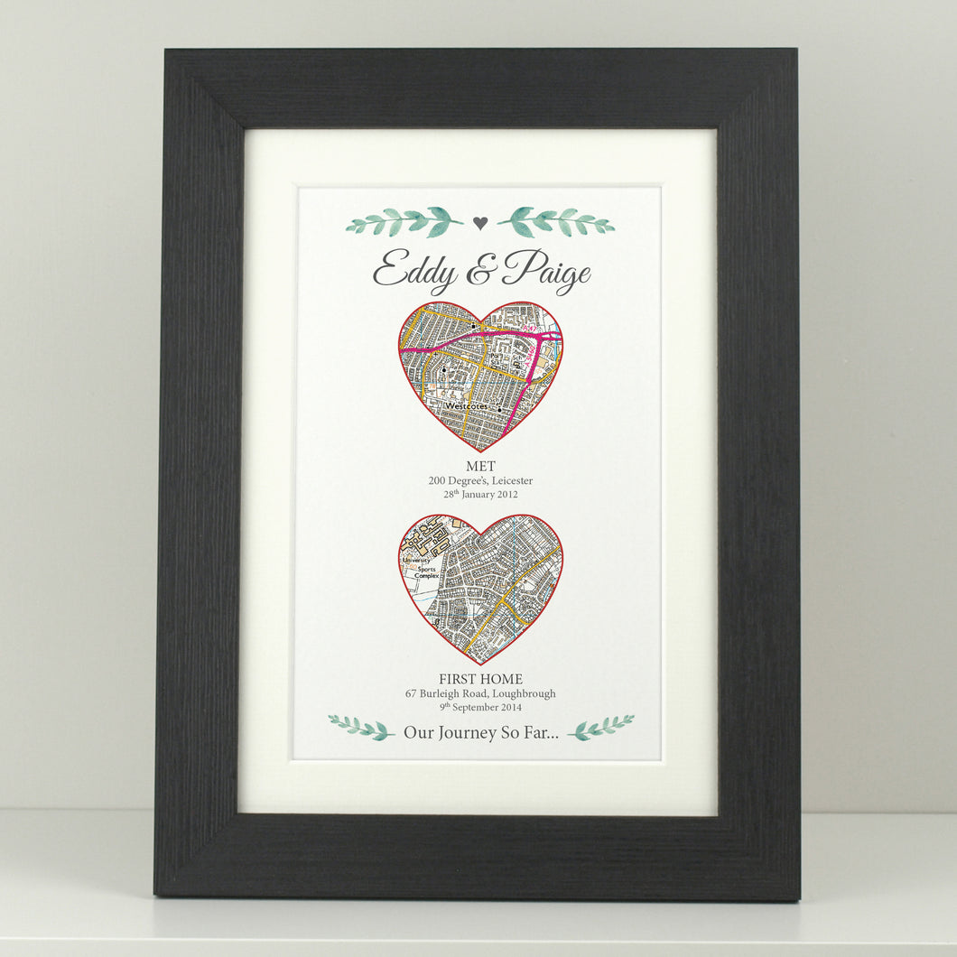 Personalised Our Adventure 2 heart portrait