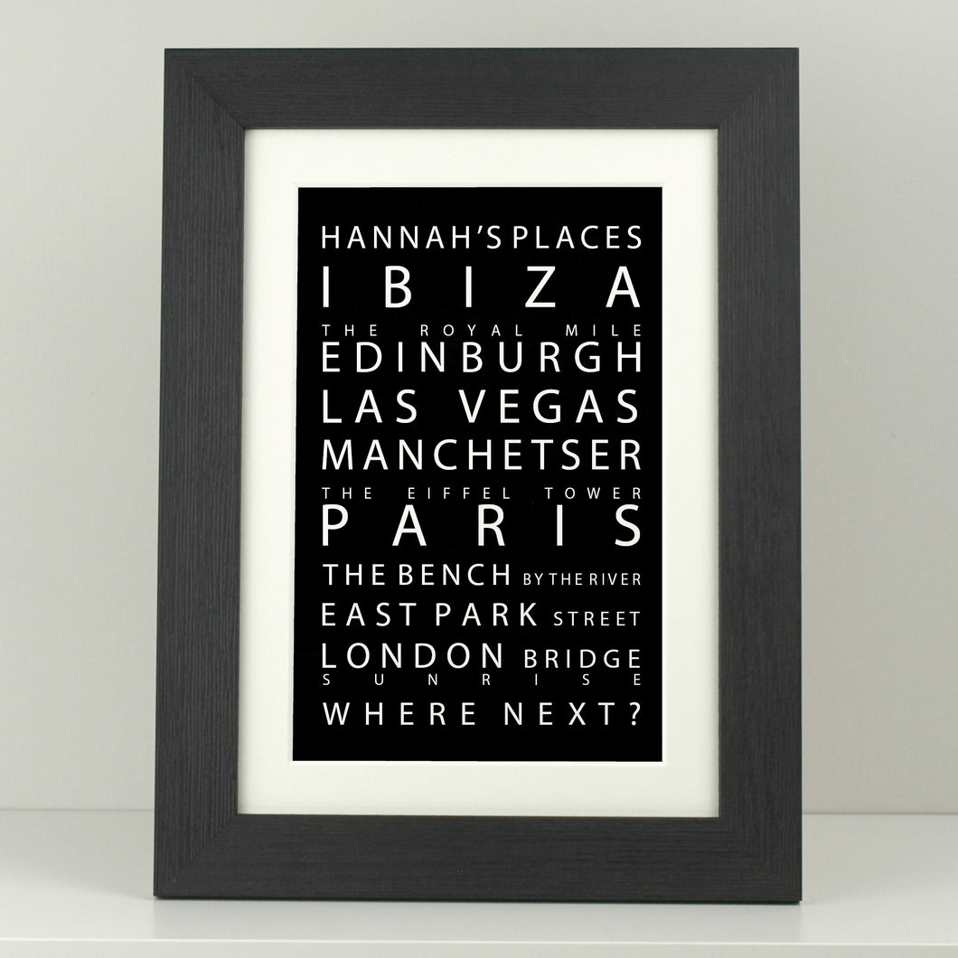Personalised Destinations Print