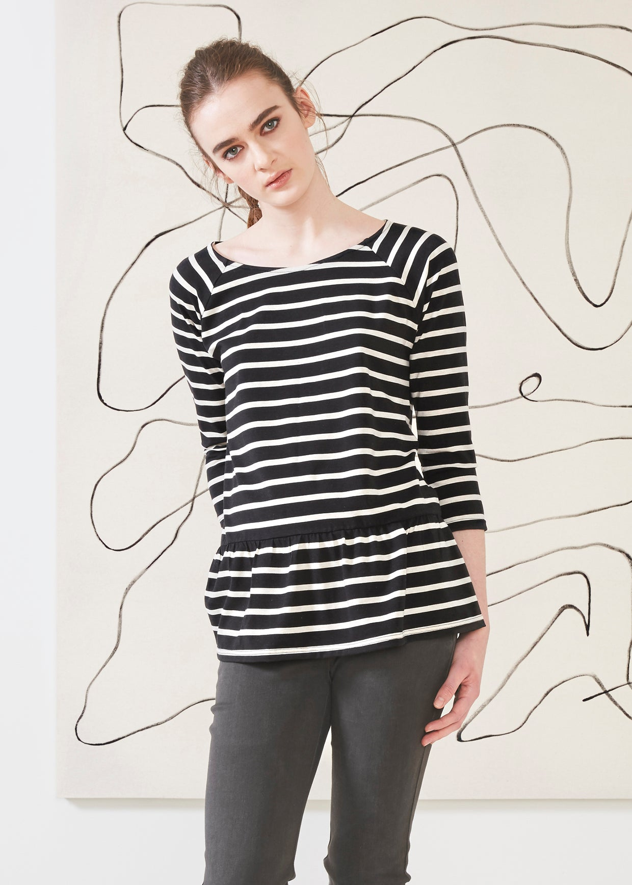 Dagg & Stacey Alva Top.  Striped long sleeve top with flounce hem.