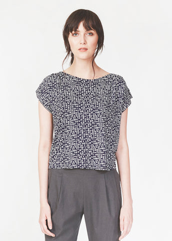 Dagg & Stacey Imad Top.  Navy print relaxed fit drop sleeve top.