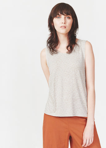 Dagg & Stacey Isidore Tank.  Stone coloured tank with criss-cross back.