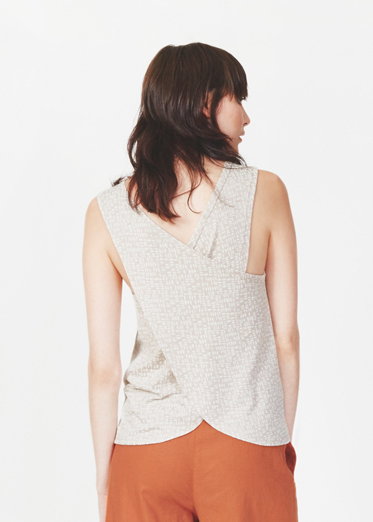 Dagg & Stacey Isidore Tank.  Back of stone coloured tank with criss-cross back.