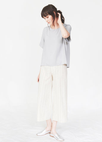 Dagg & Stacey Webb Pant.  White cropped wide leg pant in organic cotton.