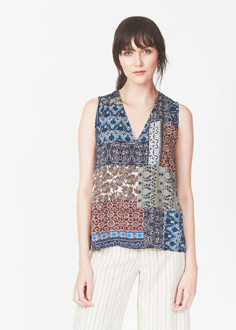 Dagg & Stacey Ikram Blouse.  Print v-neck relaxed fit tank.