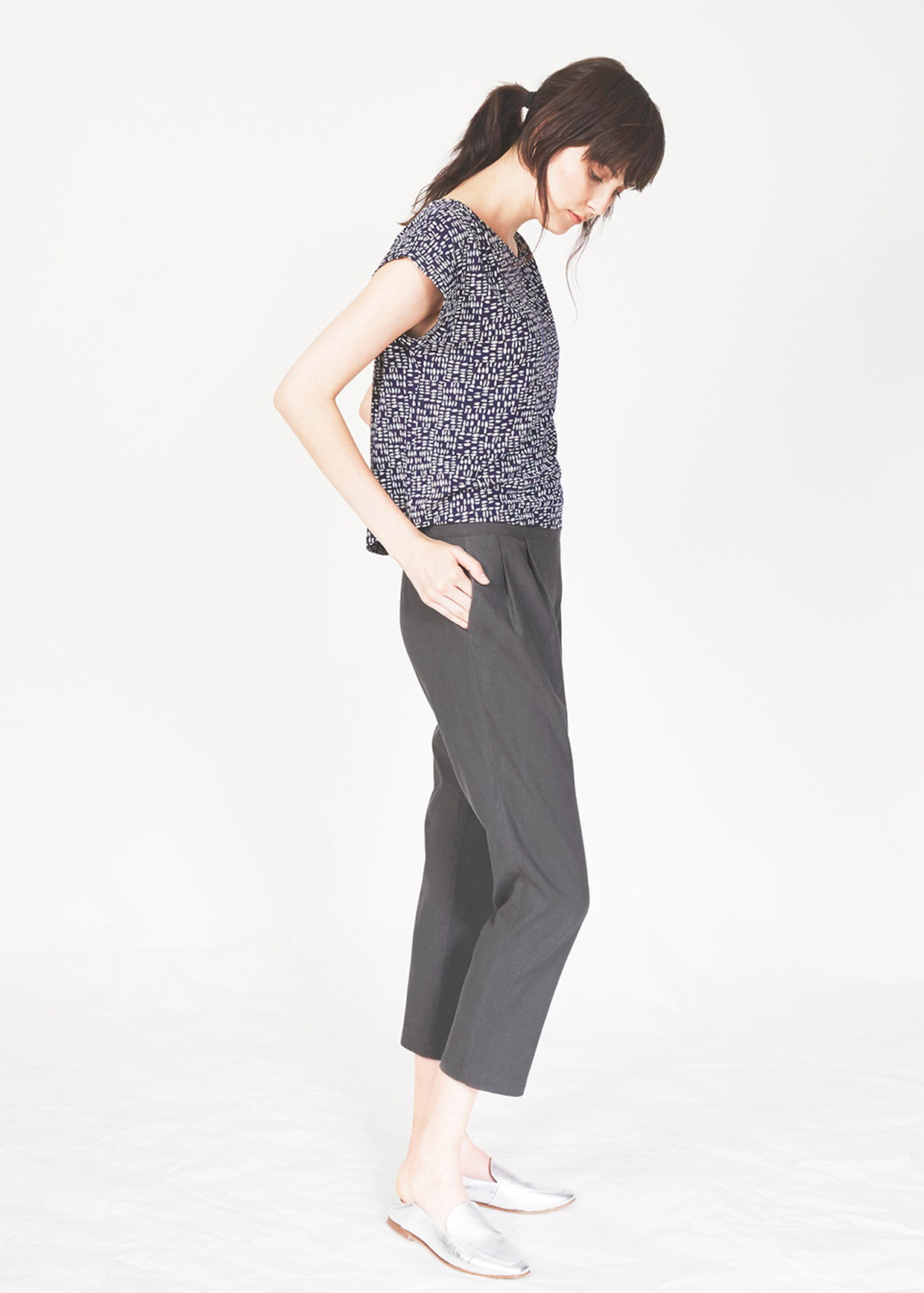 Dagg & Stacey Imad Top.  Side of navy print relaxed fit drop sleeve top.