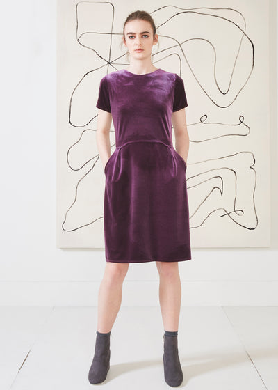 Dagg & Stacey March Dress.  Short sleeve plum coloured velvet dress with pockets.