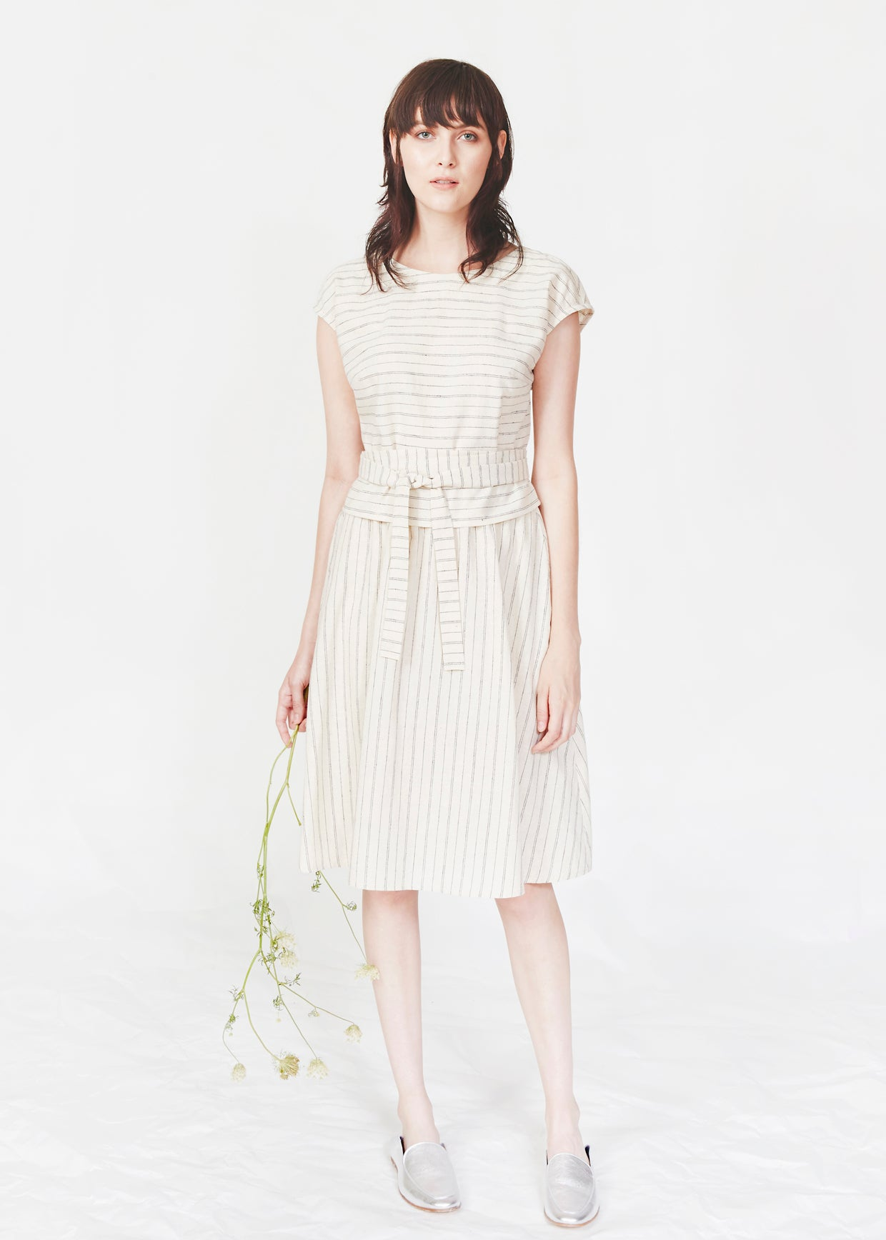 Dagg & Stacey Pike skirt.  Ivory organic cotton stripe knee length skirt.