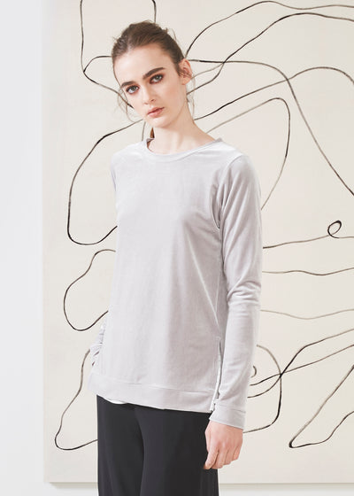 Dagg & Stacey Prairie Pullover.  Light grey long sleeve top.