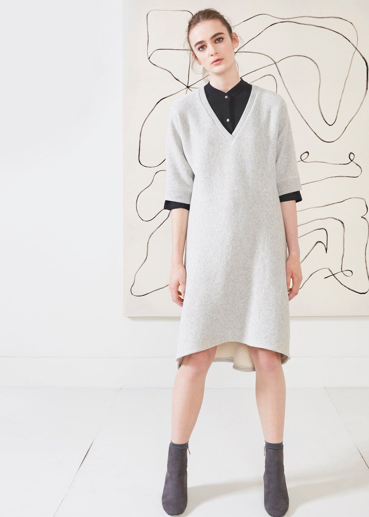 Dagg & Stacey Shai Dress.  Heather grey drop shoulder dress with v-neck.