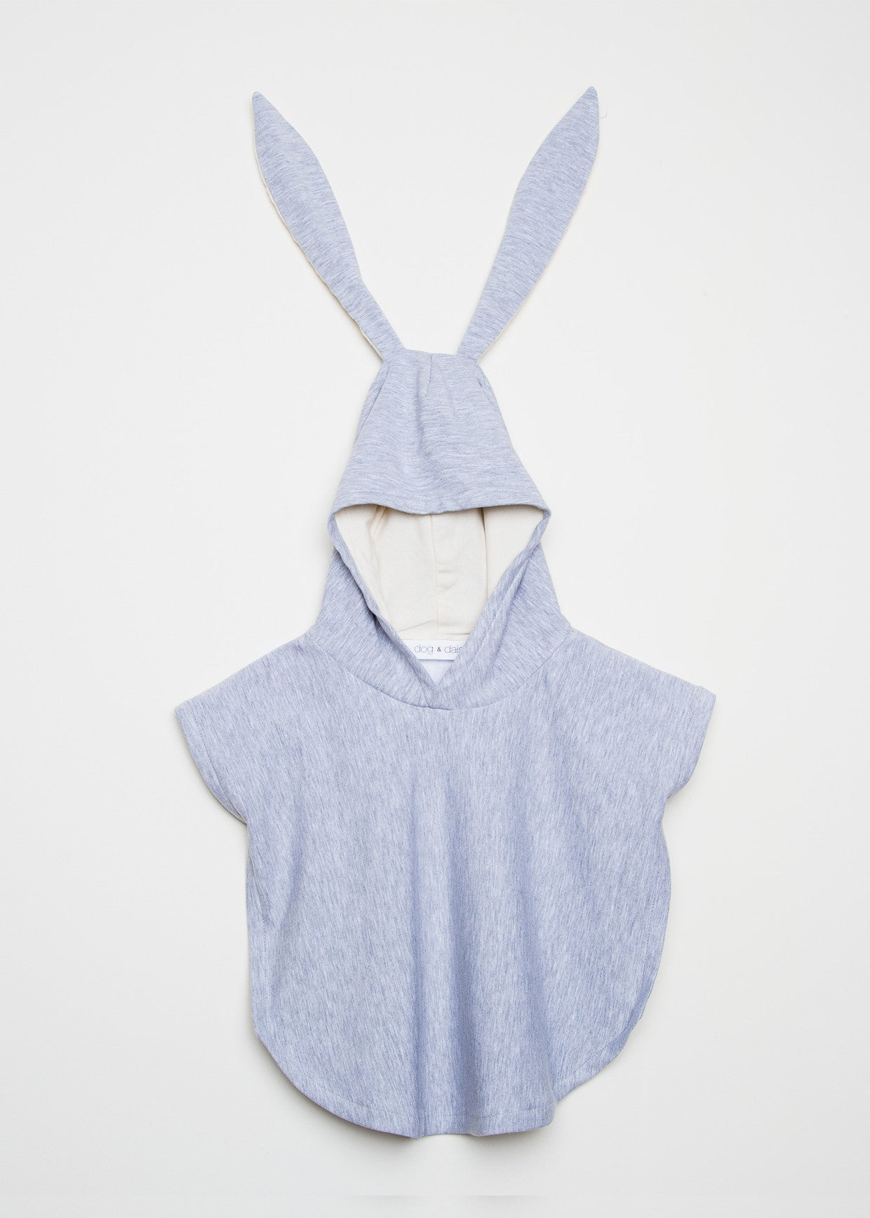 Grey coloured Dog & Daisy Bunny Poncho with bunny ears.