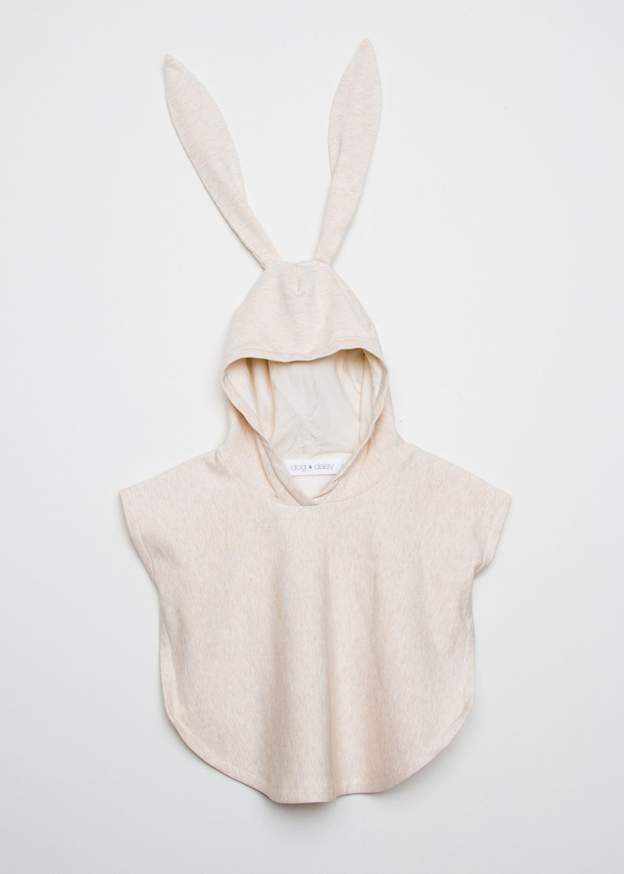Light pink coloured Dog & Daisy Bunny Poncho with bunny ears.