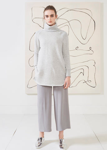 Dagg & Stacey West Pant.  Grey ankle length wide leg pant with elasticized waistband.