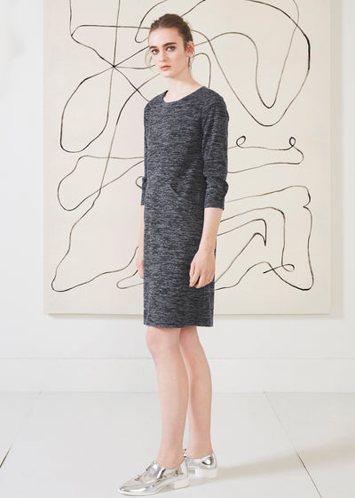Dagg & Stacey Zola Dress.  Navy straight fit round neck dress with 3/4 sleeves.