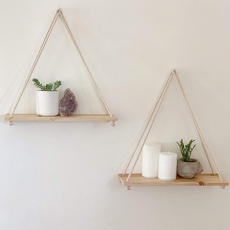 Sustainable wood and twine wall hanging shelf