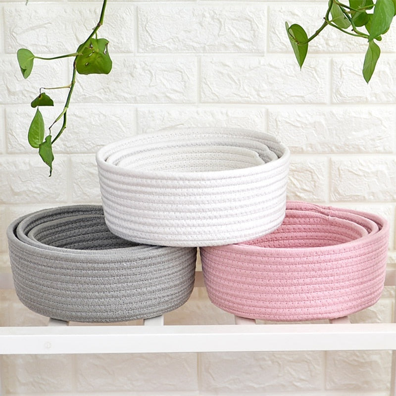 100% cotton hand-woven storage basket or Home Décor