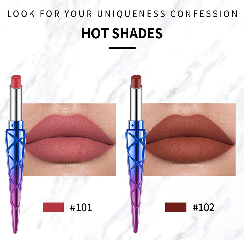 HANDAIYAN 12 Color Mermaid Queen Lipstick Sexy Red Velvet Natural Long-lasting Non-Stick Cup Matte Waterproof Lipstick