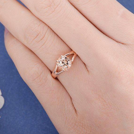 18K Gold Morganite Engagement Ring Solitaire Ring Rose Gold Bridal Simple Split Shank Unique Peachy Anniversary Retro Custom Order Women Jewelry