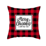 2020 Christmas Pillow Cover Red Check Deer Head Peach Skin Cushion Cover Square Sofa Cushion Cover - Merry Christmas & Happy New Year