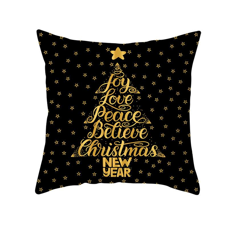 Peach Velvet Black Gold Christmas Pillow Cover Snowflake Letter Sofa Pillow Cover TPR220