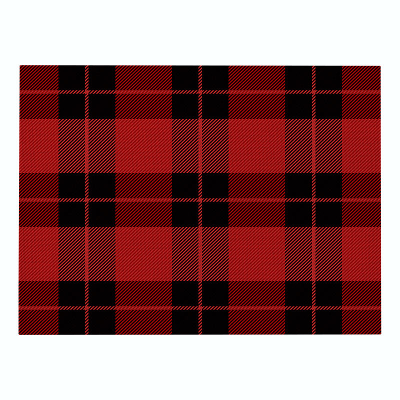 Custom Christmas Plaid Cotton Linen Cloth Art Placemat Nordic Style Non-slip Heat Insulation Kitchen Table Mat