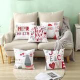 Nordic Christmas Pillowcase Cartoon Moose Sofa Cushion Set Peach Velvet Pillowcase