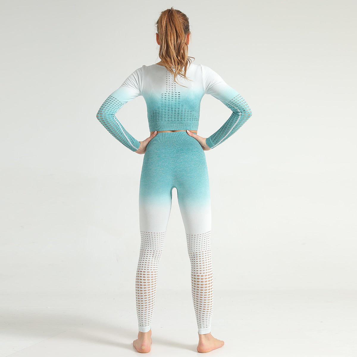 2020 Woman Gradient Long Sleeve Seamless Yoga Suit High Waisted Leggings Activewear Gym Set Sportswear Fitness Outfits YS-004