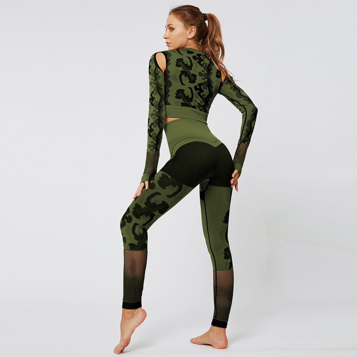 2020 Women Camouflage Hollow Out Outfits High Waisted Leggings Activewear Tracksuits Seamless Sportswear Yoga Suit YS-003
