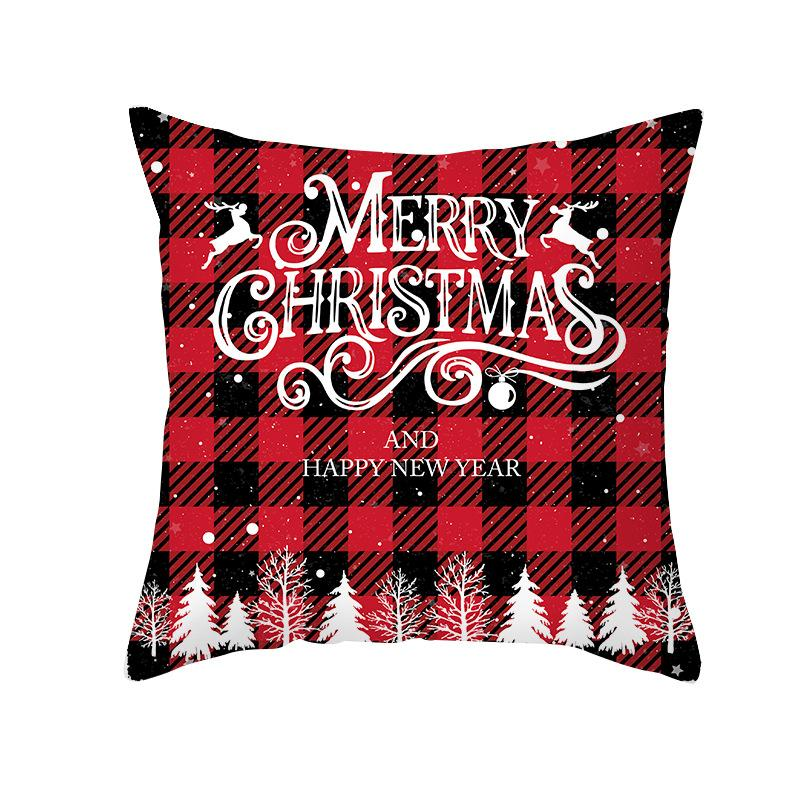 New Red Plaid Christmas Pillow Cover Peach Velvet Sofa Cushion Cover Office Pillow Cover