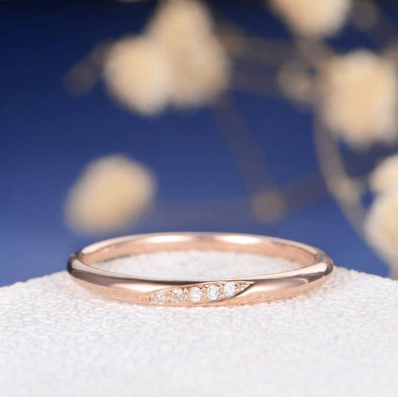 18K Wedding Band Diamond Wedding Ring Rose Gold Tiny Anniversary Minimalist Pave Engraving Matching Simple Bridal Stacking Ring Thin Gold Band