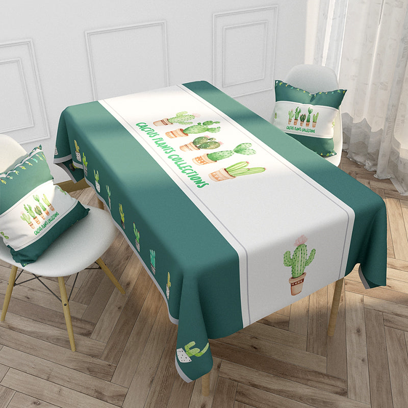 Customized Nordic Christmas Tablecloth Cartoon Elk Plant Cotton & Linen Tablecloth