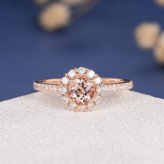 18k Antique Morganite Engagement Ring Flower Rose Gold Ring Diamond Halo Morganite Ring Eternity Bridal Anniversary Promise Multistone Women