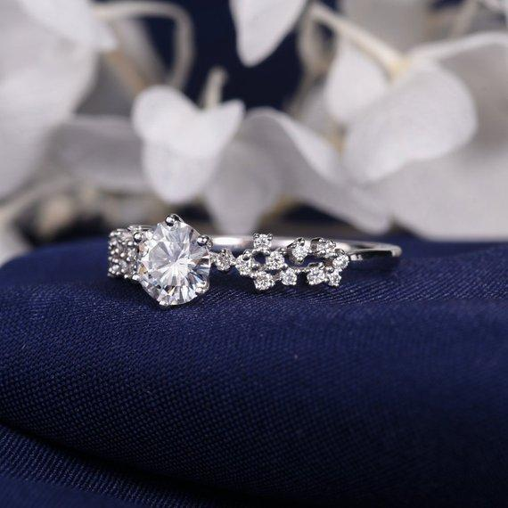 18K Unique Moissanite Engagement Ring White Gold Cluster Ring Flower Snowflake Twig Art Deco Wedding Women Antique Anniversary Star Floral