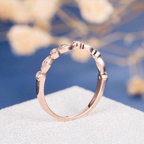 18K Art Deco Wedding Band Woman Diamond Bridal Set Half Eternity Rose Gold Antique Unique Matching Stacking Anniversary Promise Gift for Her