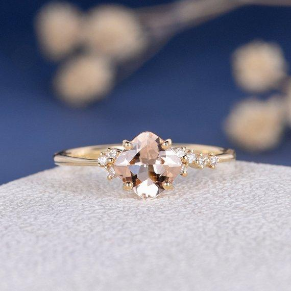 18k Morganite Ring Cushion Cut Engagement Ring Gold Cluster Diamond Twig Ring Unique Minimalist Wedding Ring Anniversary Promise 6mm Morganite