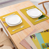 Customized Modern Minimalist Style Cotton & Linen Placemat Plant Printing Kitchen Dining Table Insulation Placemat