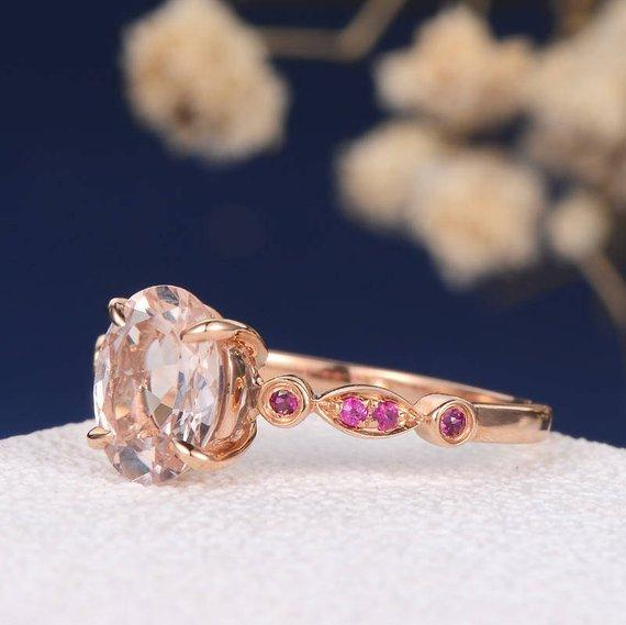 18k Oval Cut Morganite Engagement Ring Rose Gold Art Deco Antique Multistone Ruby Women Anniversary Promise July Birthstone Half Eternity Ring