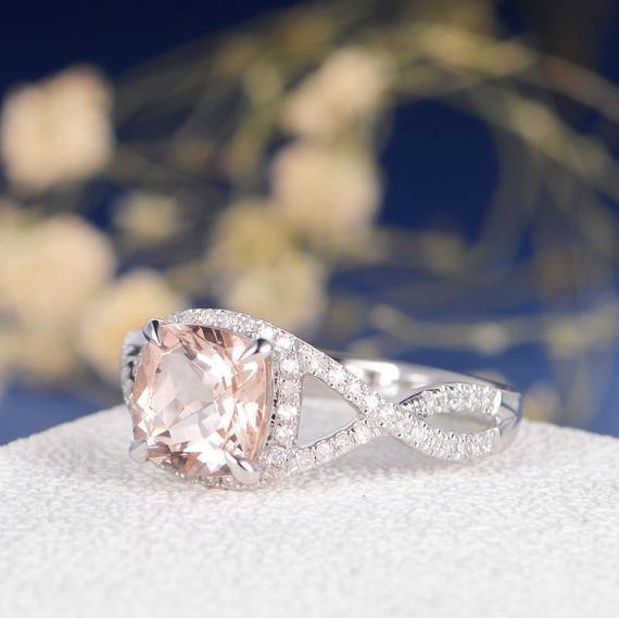 18K Gold Morganite Infinity Ring Engagement Ring Rose Gold Ring Diamond Pave Halo Wedding Cushion Cut Bridal Ring Anniversary Promise Women Unique
