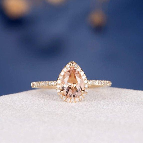 18k Morganite Engagement Ring Gold Wedding Ring Diamond Halo Half Eternity Pear Shaped Pear Cut Bridal Ring Anniversary Gift Women Antique