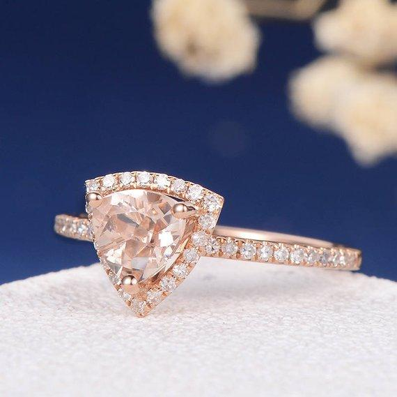 18k Morganite Rose Gold Engagement Ring Halo Unique Triangle Morganite Ring Diamond Half Eternity Ring Women Bridal Geometric Pave Anniversary