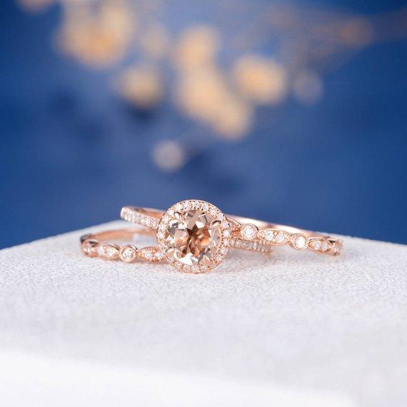 18k Morganite Bridal Set Engagement Ring Rose Gold Eternity Band Women Anniversary Art Deco Promise Solitaire Halo Diamond Stacking Bridal 3pcs