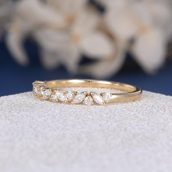 18K Unique Cluster Band Moissanite Band Cluster Ring Yellow Gold Marquise Moissanite Ring Stacking Mini Antique Art Deco Wedding Band Women